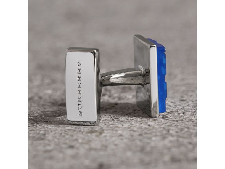 Check-engraved Square Cufflinks in Bright Blue - Men | Burberry United Kingdom - cell image 1