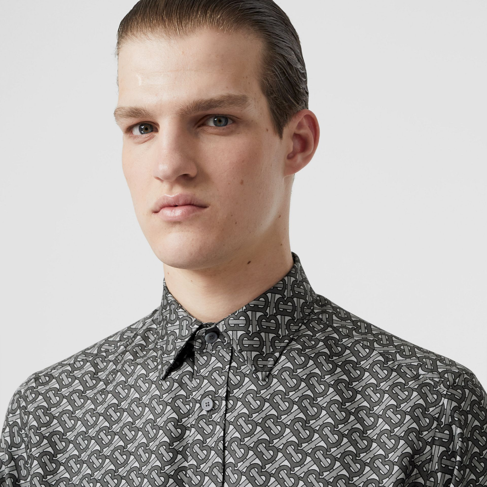 Classic Fit Monogram Print Silk Twill Shirt in Mid Grey - Men | Burberry United States - gallery image 1