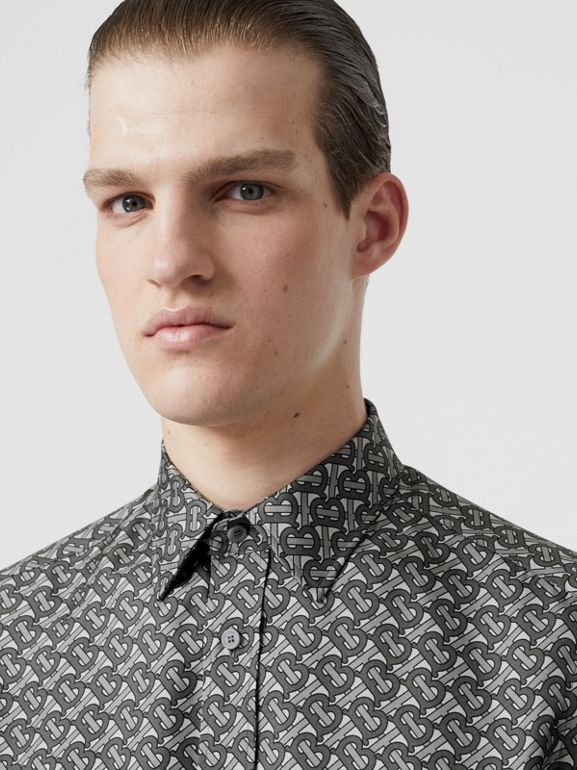 Classic Fit Monogram Print Silk Twill Shirt in Mid Grey - Men | Burberry - cell image 1