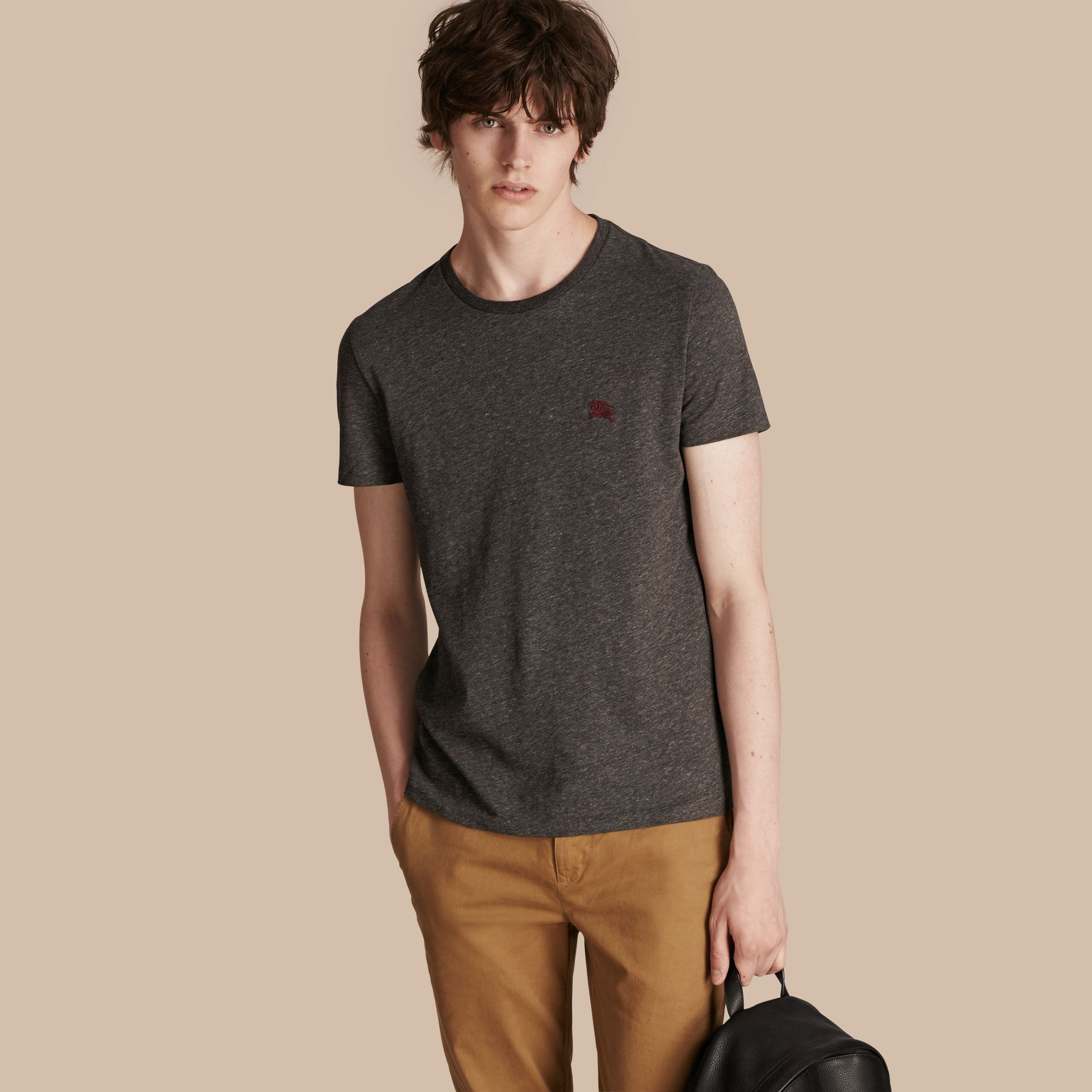 Cotton Jersey T-shirt in Dark Grey Melange - gallery image 1