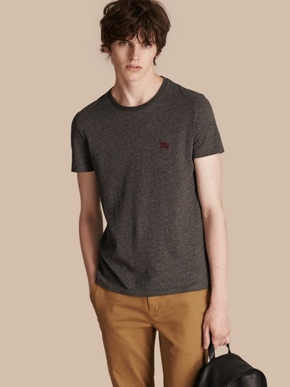 Cotton Jersey T-shirt in Dark Grey Melange - Men | Burberry