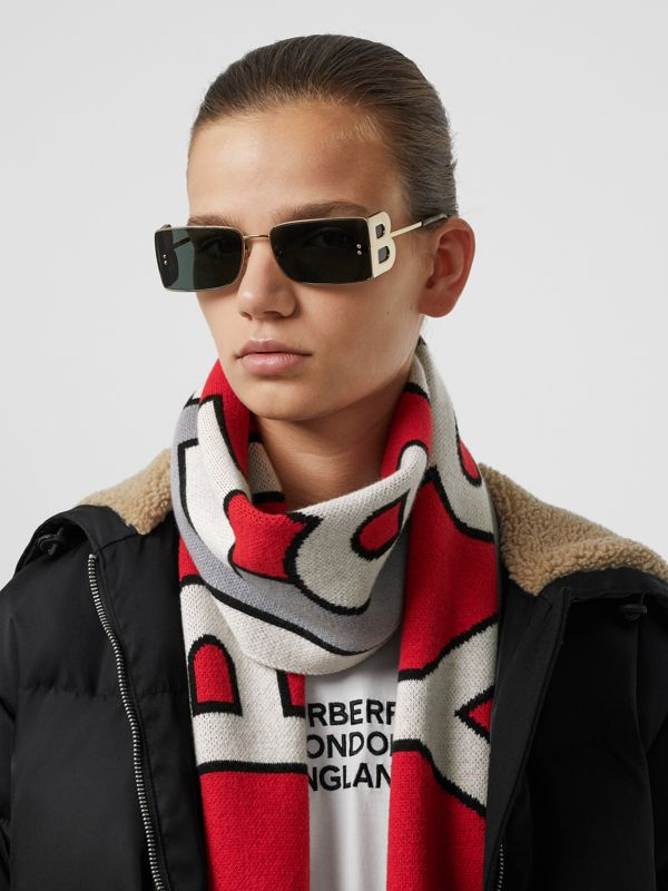 Logo Cashmere Jacquard Scarf in Steel Grey | Burberry - cell image 2