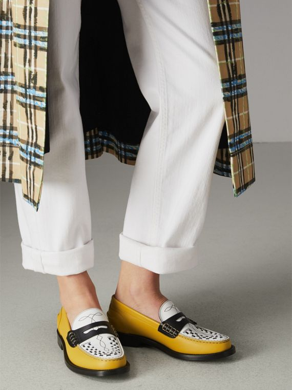 Woven-toe Leather Loafers in Saffron Yellow - Women | Burberry - cell image 2
