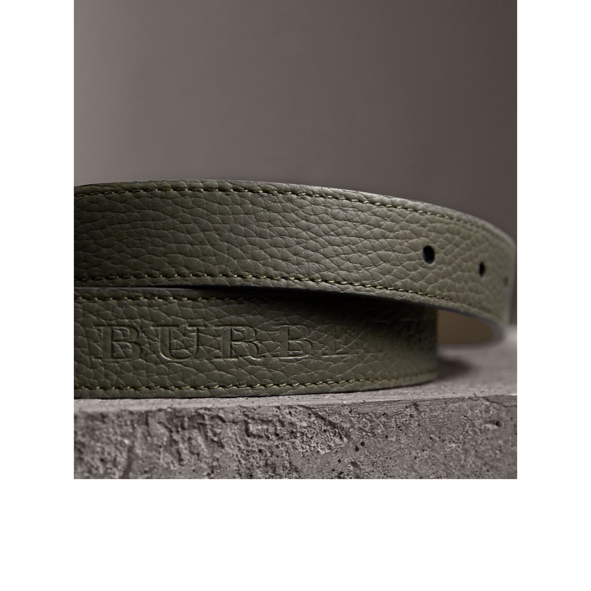 Embossed Leather Belt in Slate Green - Women | Burberry United Kingdom - gallery image 2