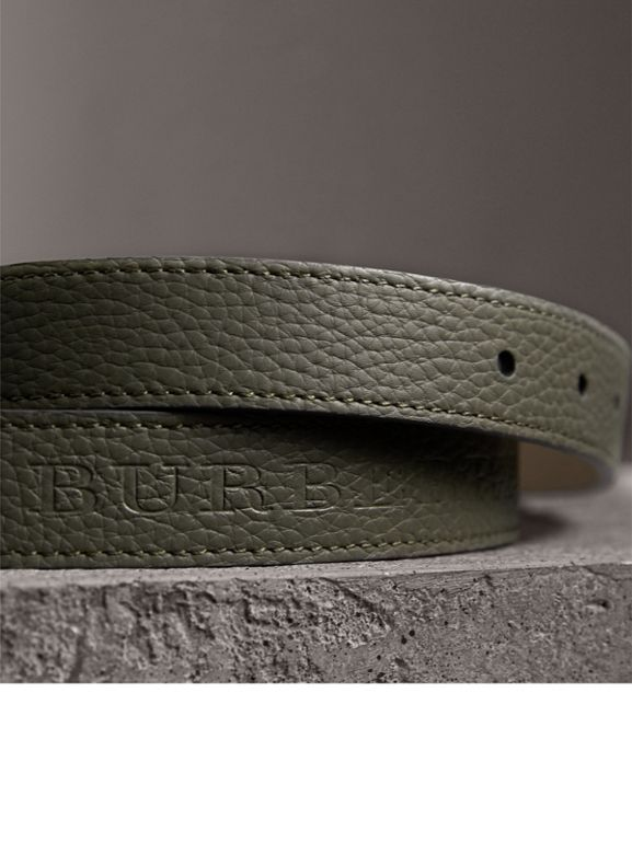 Embossed Leather Belt in Slate Green - Women | Burberry - cell image 1