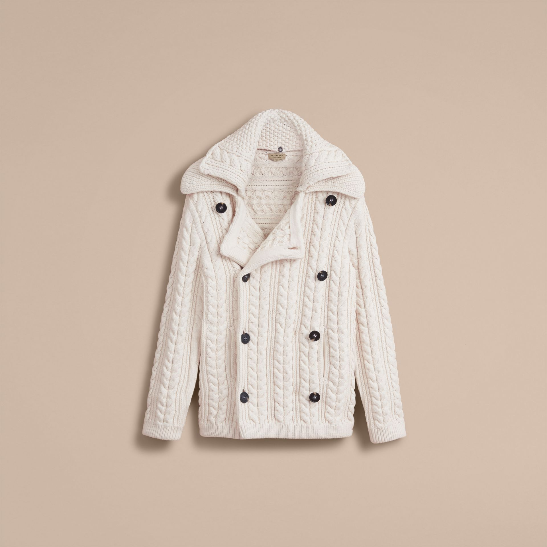 Aran Knit Technical Cotton Jacket in Natural White - Men | Burberry - gallery image 4
