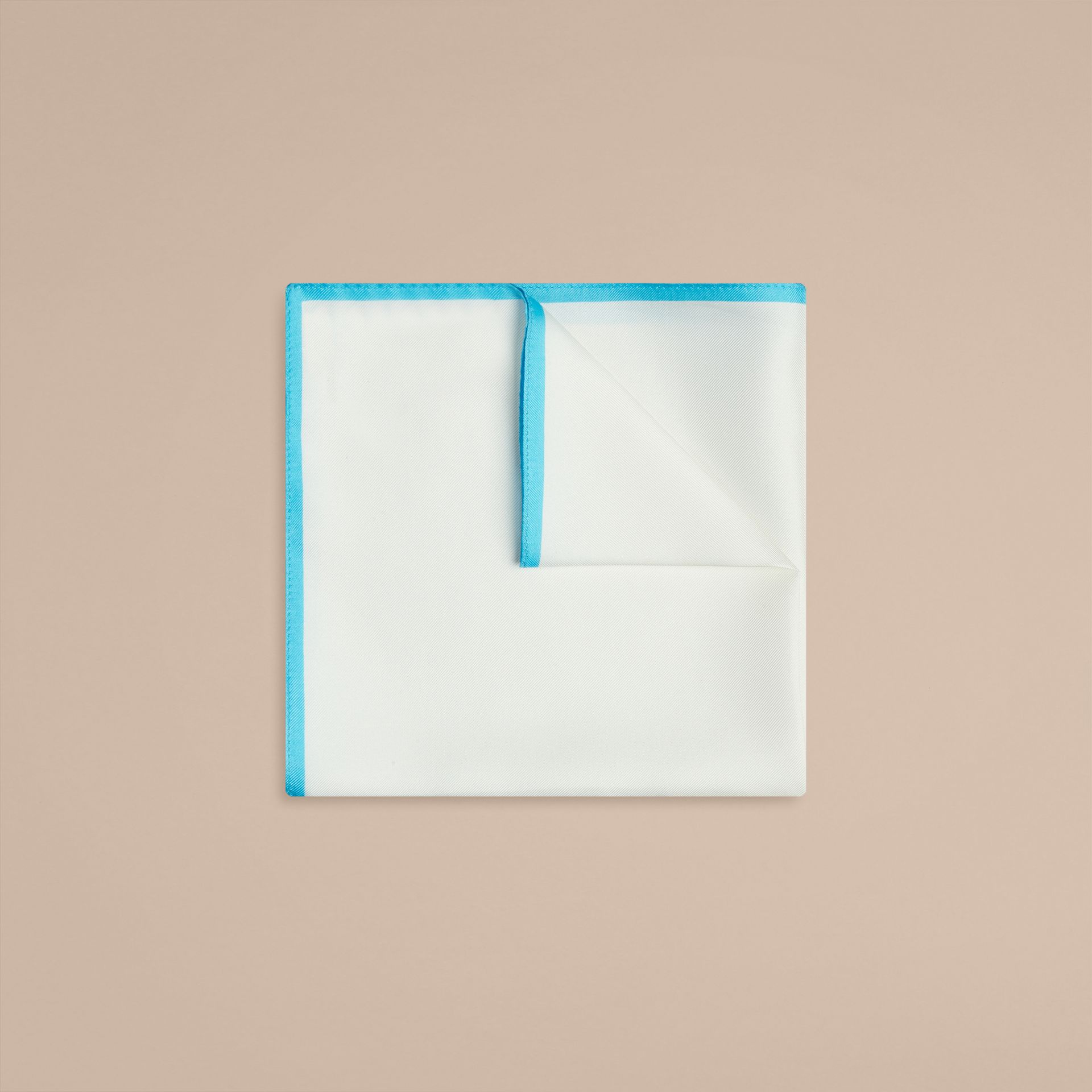 Aqua green Contrast Border Silk Pocket Square Aqua Green - gallery image 1