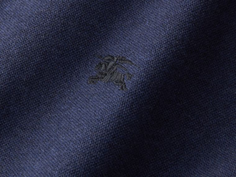 Two-tone Check Placket Cotton Piqué Polo Shirt in Navy Melange - Men | Burberry - cell image 1