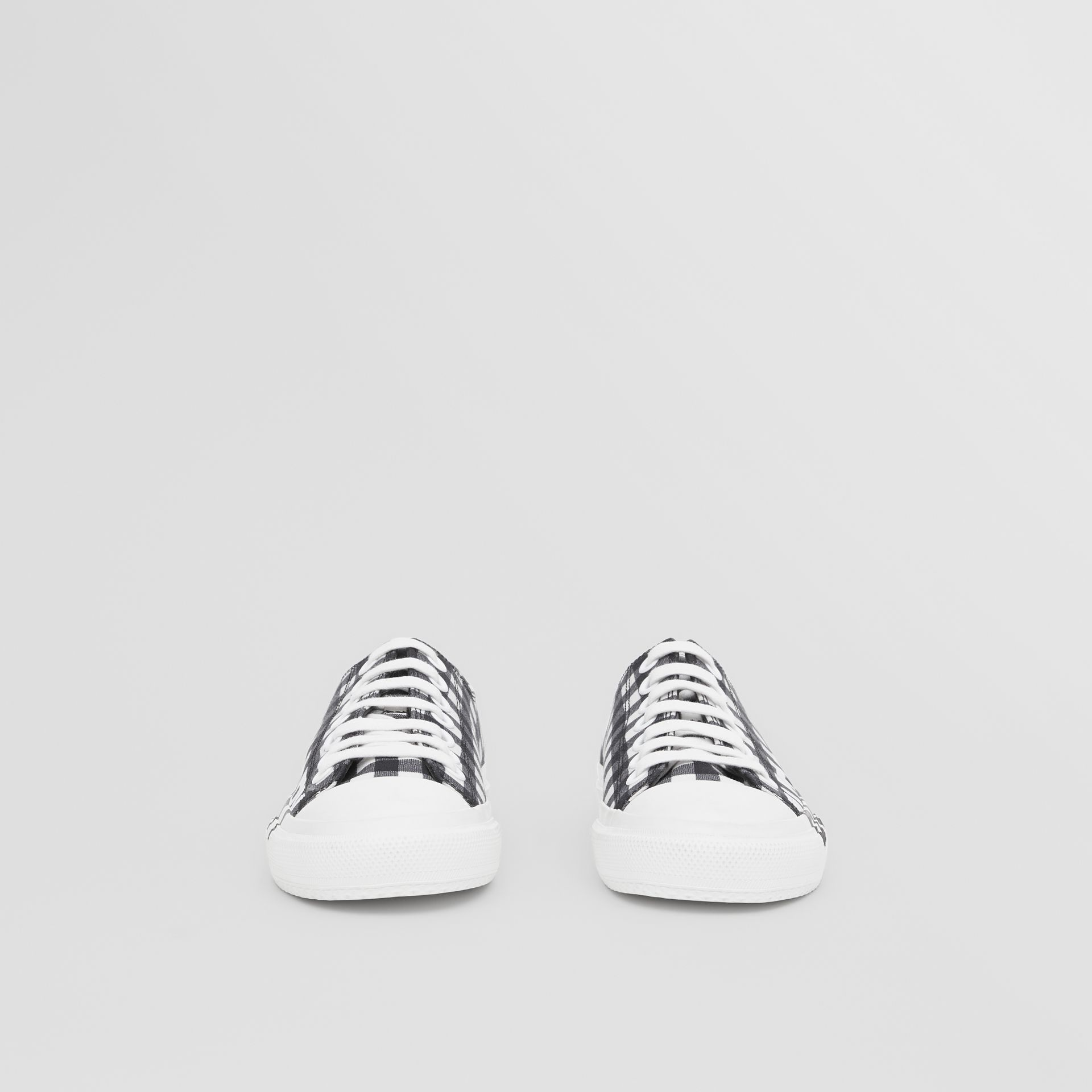 Logo Print Gingham Cotton Sneakers in Black/white - Women | Burberry - gallery image 2