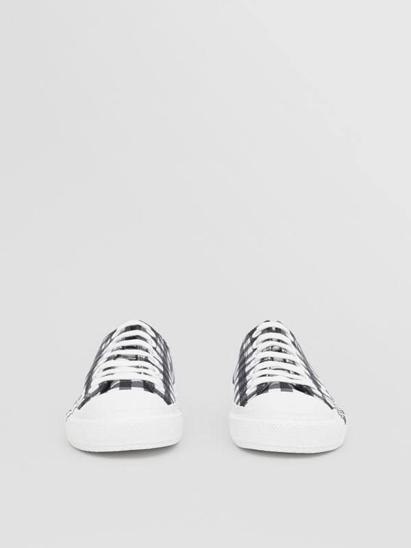 Logo Print Gingham Cotton Sneakers in Black/white - Women | Burberry - cell image 2