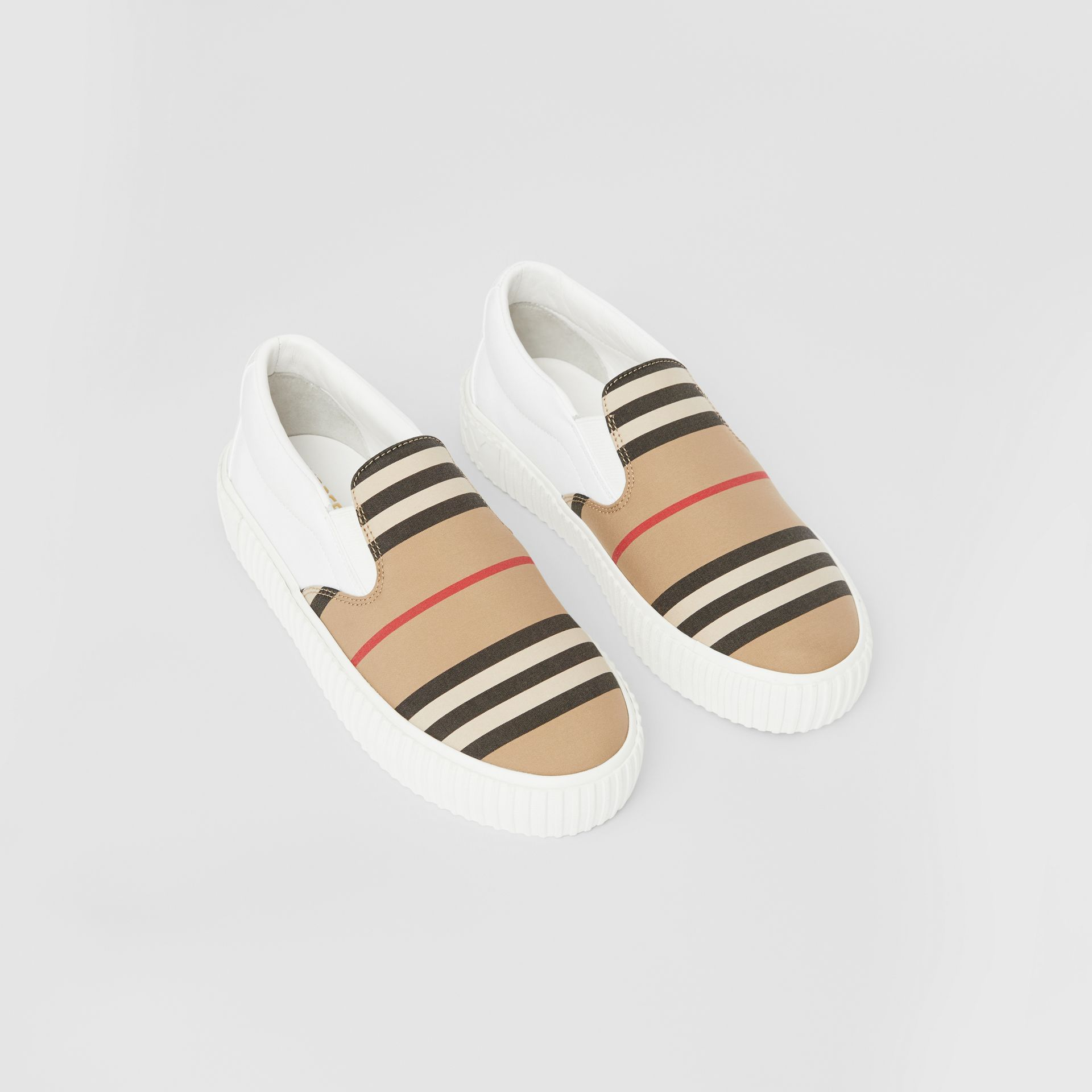 Icon Stripe Cotton Slip-on Sneakers in Archive Beige - Children | Burberry United States - gallery image 0