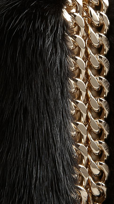 Black Chain-Detail Mink Box Clutch - Image 7