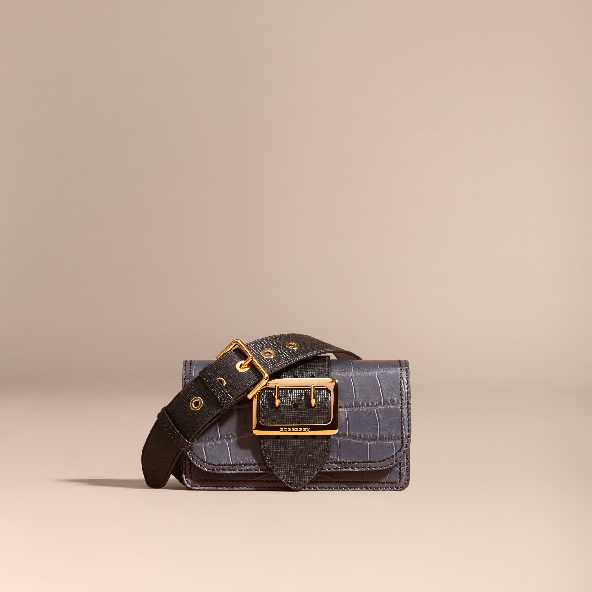 Navy / black The Small Buckle Bag in Alligator and Leather Navy / Black - gallery image 9