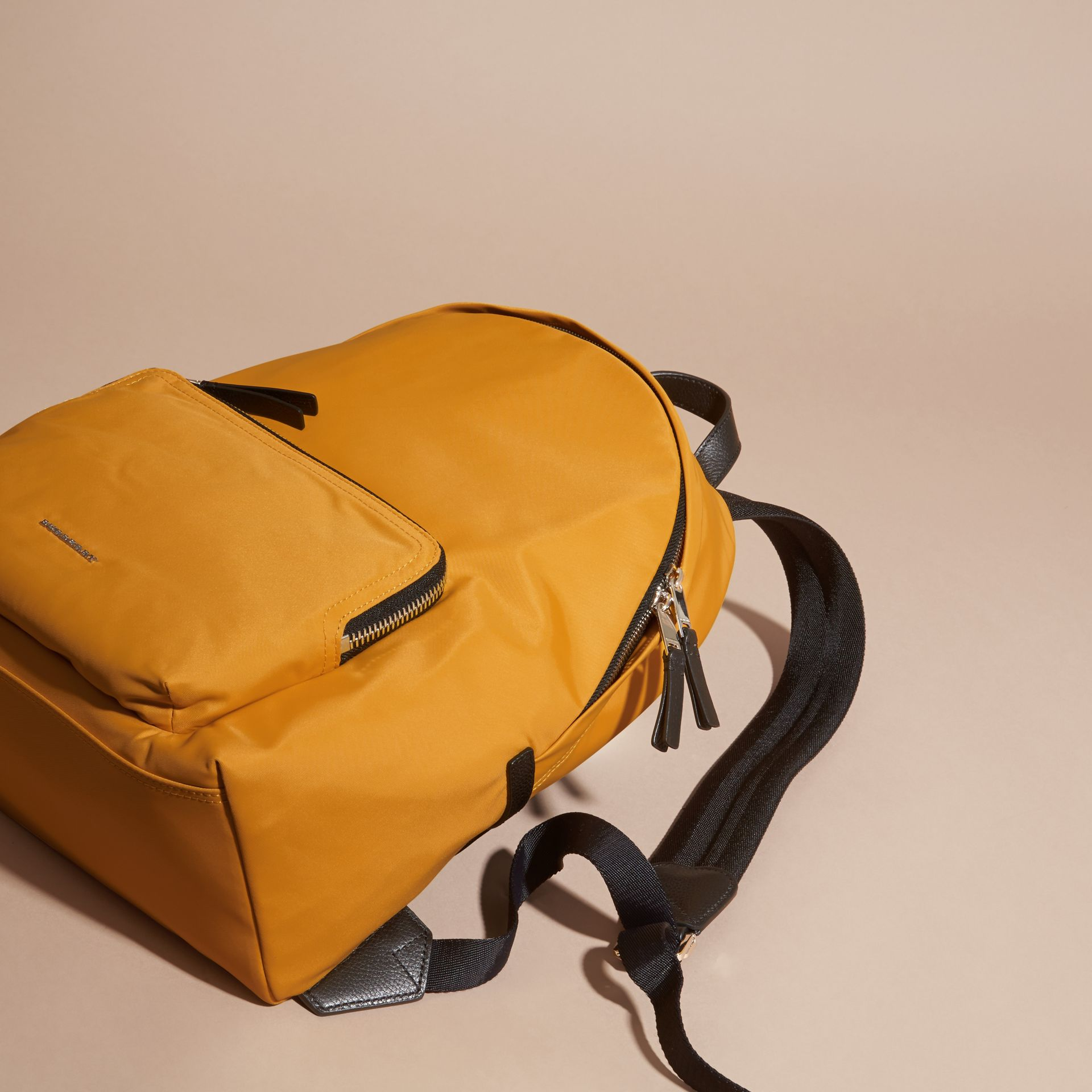 Amber yellow Leather Trim Nylon Backpack Amber Yellow - gallery image 7
