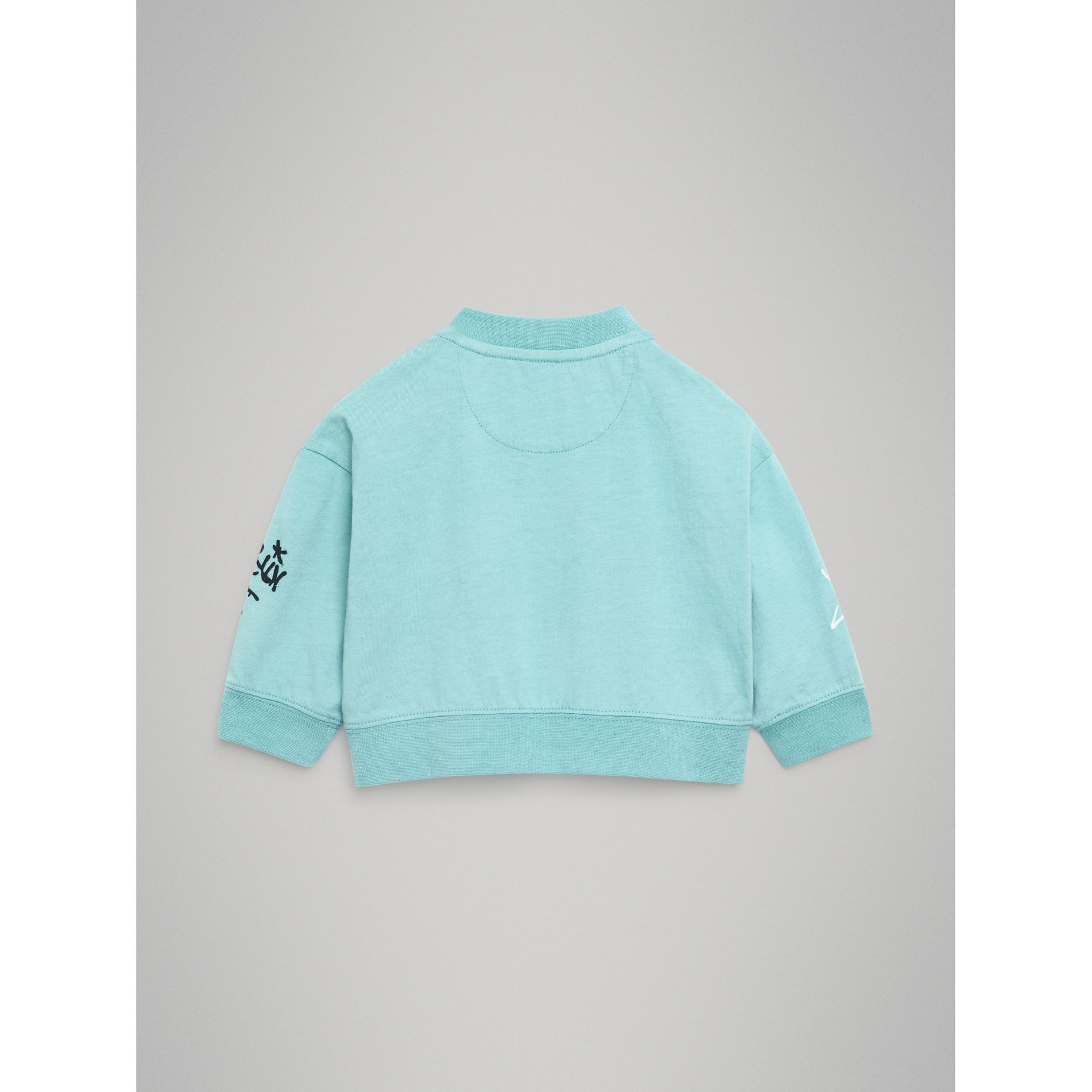 Forever is Now Print Cotton Sweatshirt in Turquoise - Children | Burberry - gallery image 3