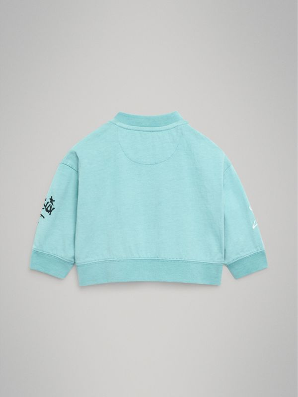 Forever is Now Print Cotton Sweatshirt in Turquoise - Children | Burberry - cell image 3