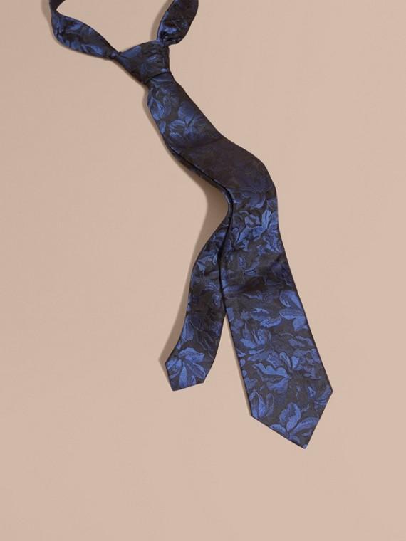 Modern Cut Floral Jacquard Silk Tie Navy