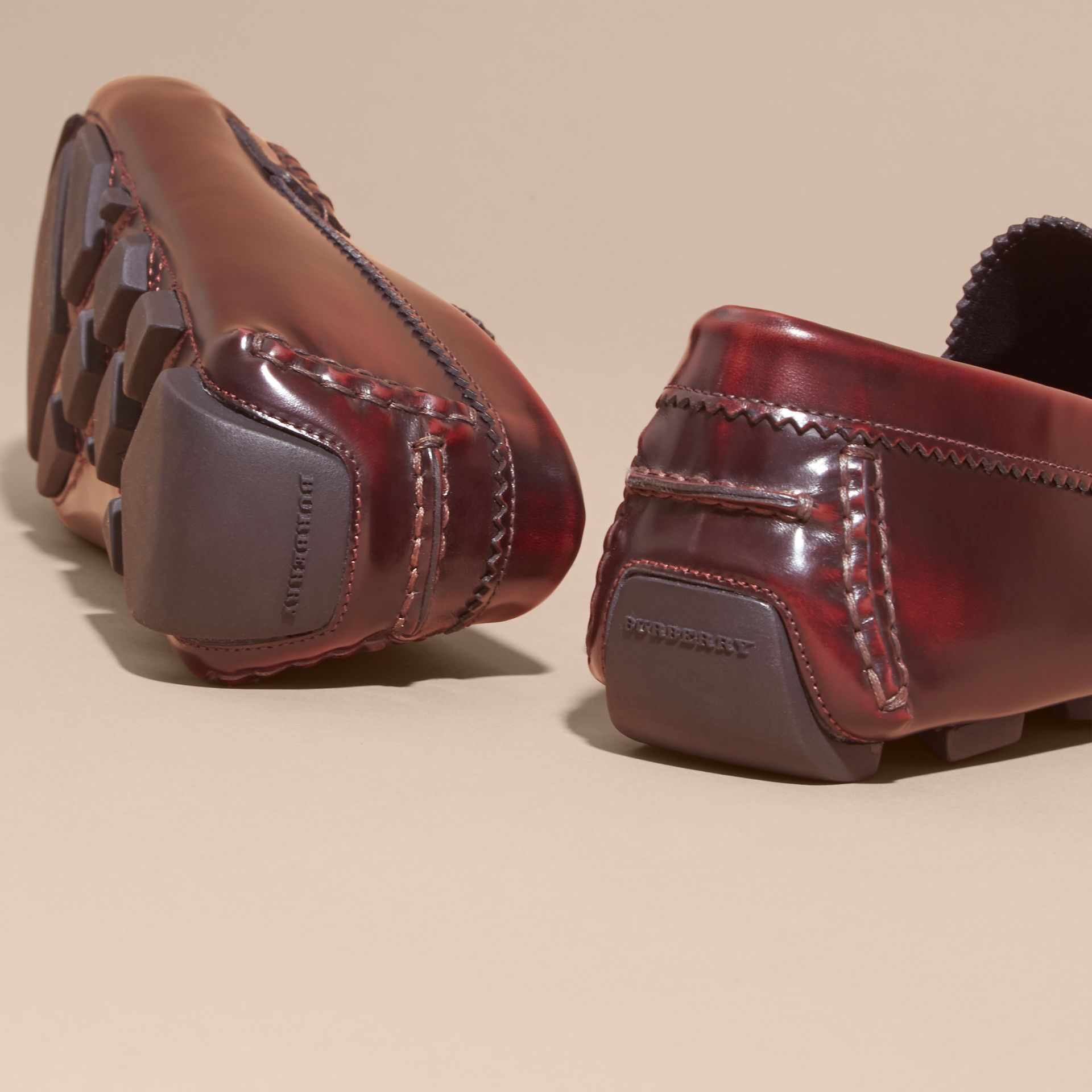 Tasselled Polished Leather Loafers in Bordeaux - gallery image 4