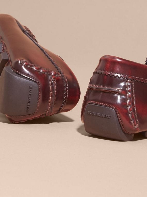 Tasselled Polished Leather Loafers in Bordeaux - cell image 3