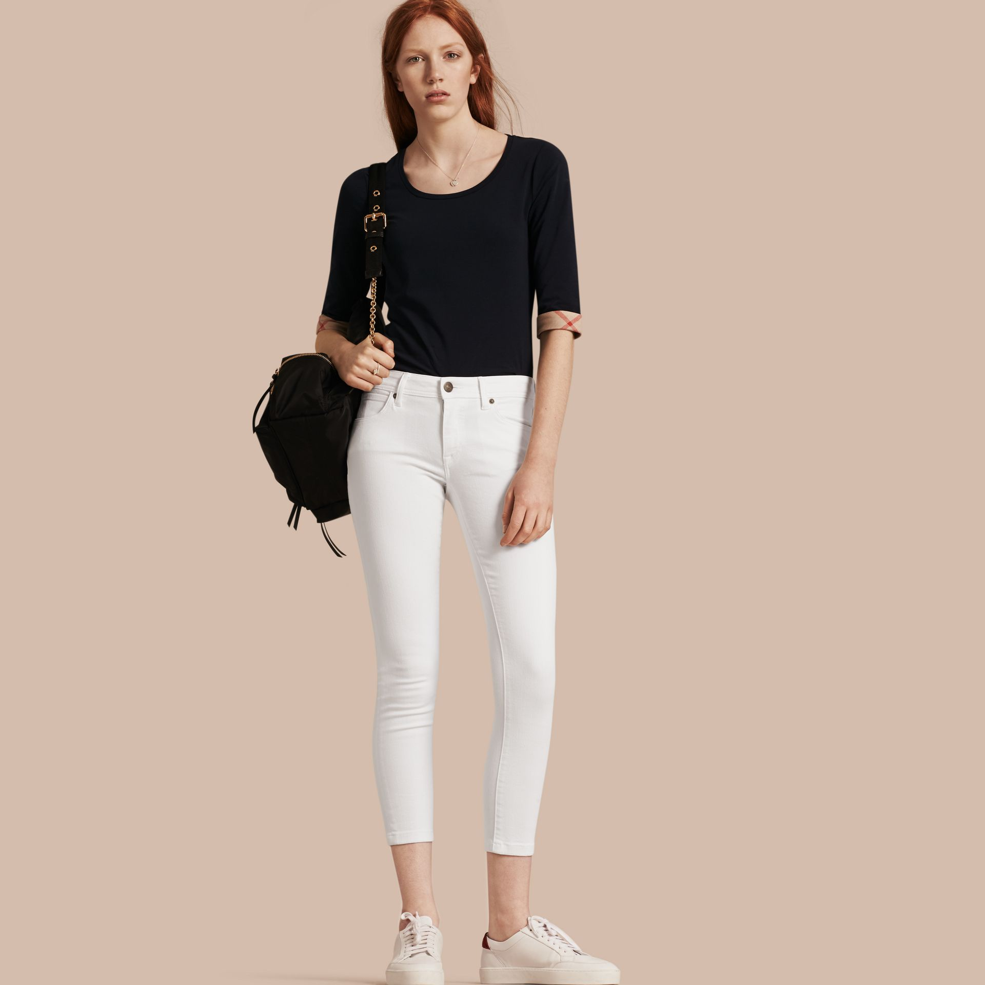 White Skinny Fit Low-Rise Cropped Jeans - gallery image 1