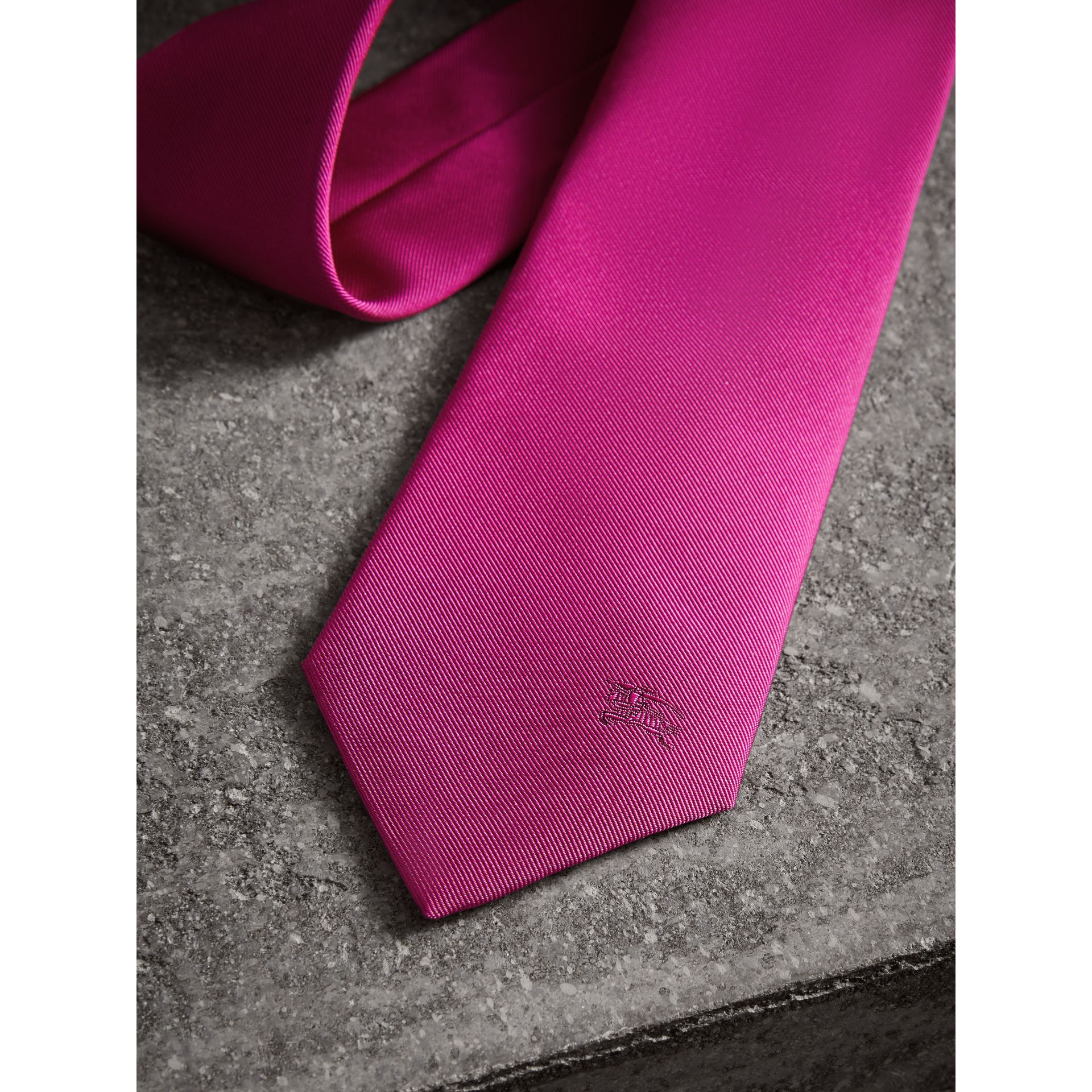 Modern Cut Silk Tie in Bright Rose Pink - Men | Burberry Singapore - gallery image 1