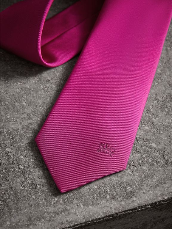 Modern Cut Silk Tie in Bright Rose Pink - Men | Burberry - cell image 1