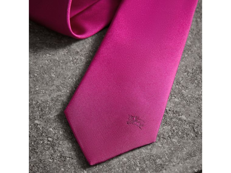 Modern Cut Silk Tie in Bright Rose Pink - Men | Burberry Singapore - cell image 1
