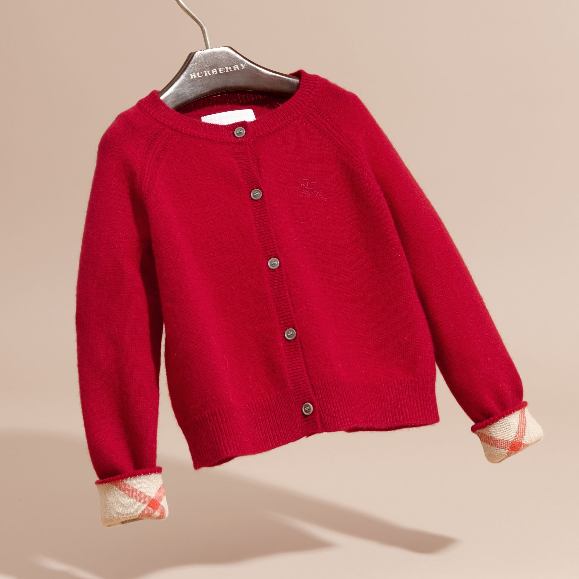 Check Cuff Cashmere Cardigan Parade Red - gallery image 3