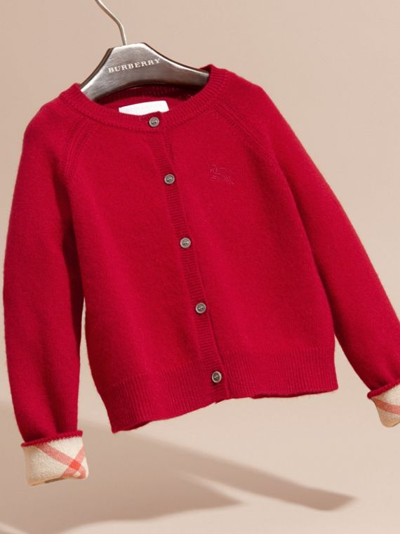 Check Detail Cashmere Cardigan in Parade Red - Girl | Burberry - cell image 2