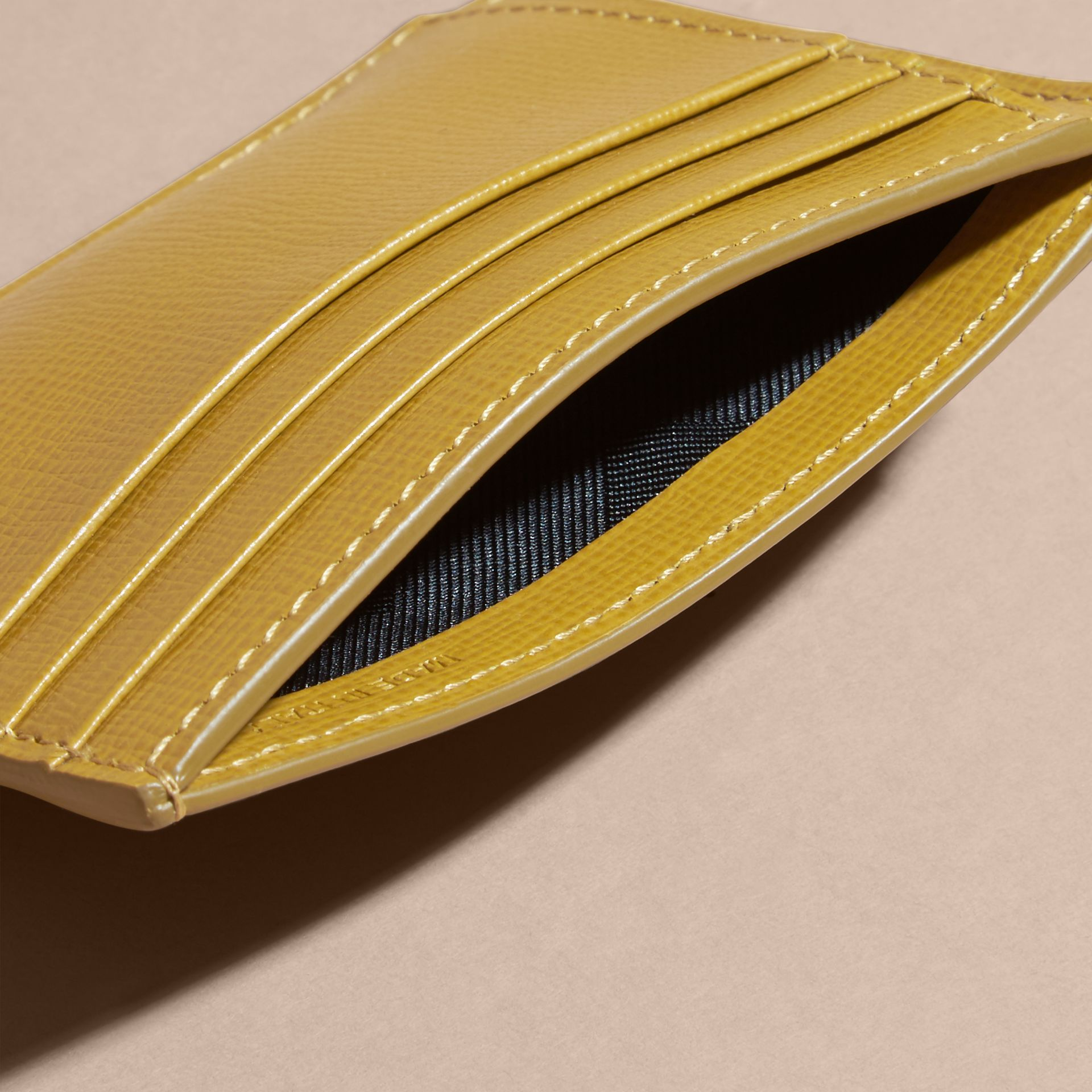 London Leather Money Clip Card Case Larch Yellow - gallery image 5