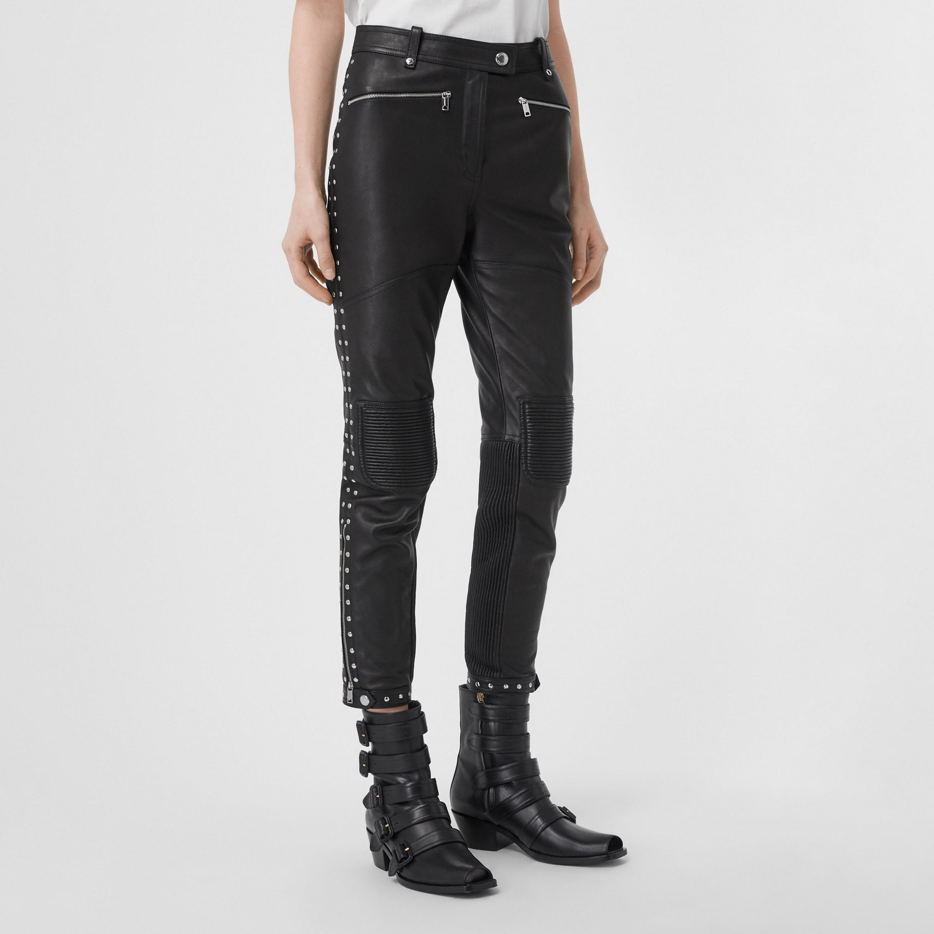 Zip Detail Studded Leather Trousers in Black - Women | Burberry - gallery image 5