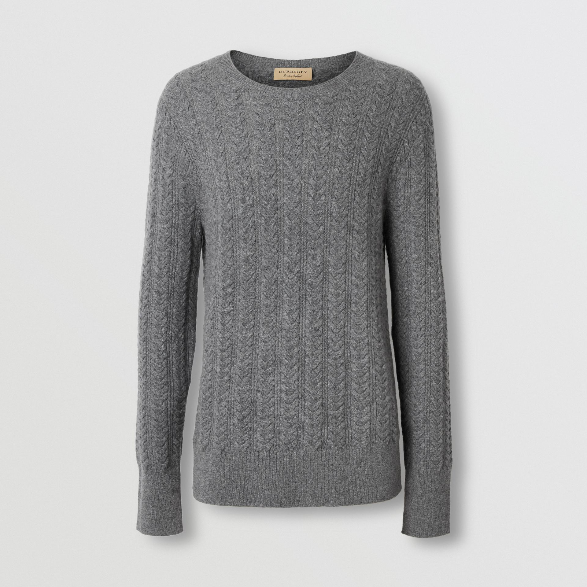 Cable Knit Cashmere Sweater in Mid Grey Melange - Men | Burberry - gallery image 3