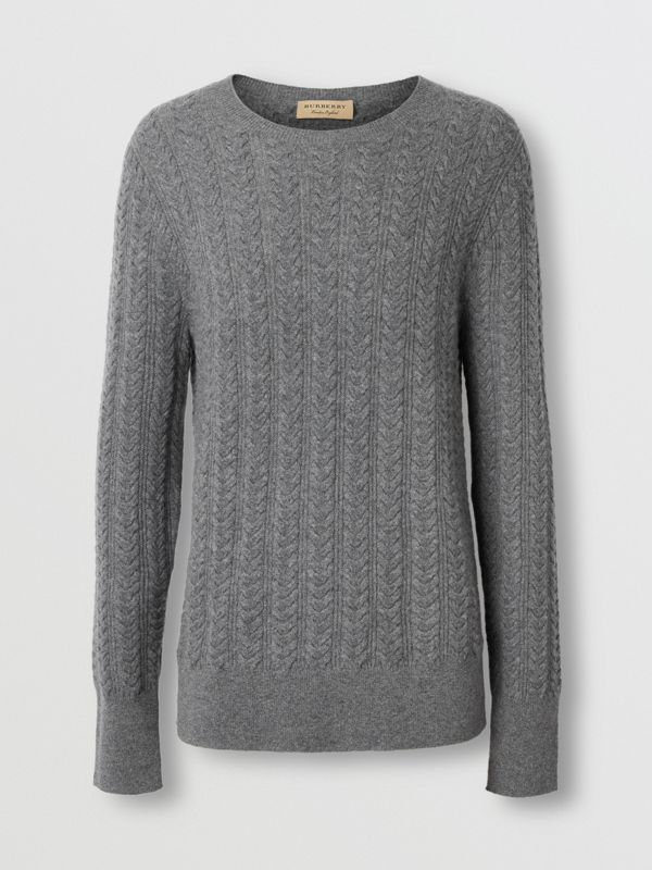 Cable Knit Cashmere Sweater in Mid Grey Melange - Men | Burberry - cell image 3