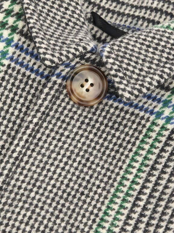 Houndstooth Check Wool Blend Car Coat in Clover Green | Burberry - cell image 1