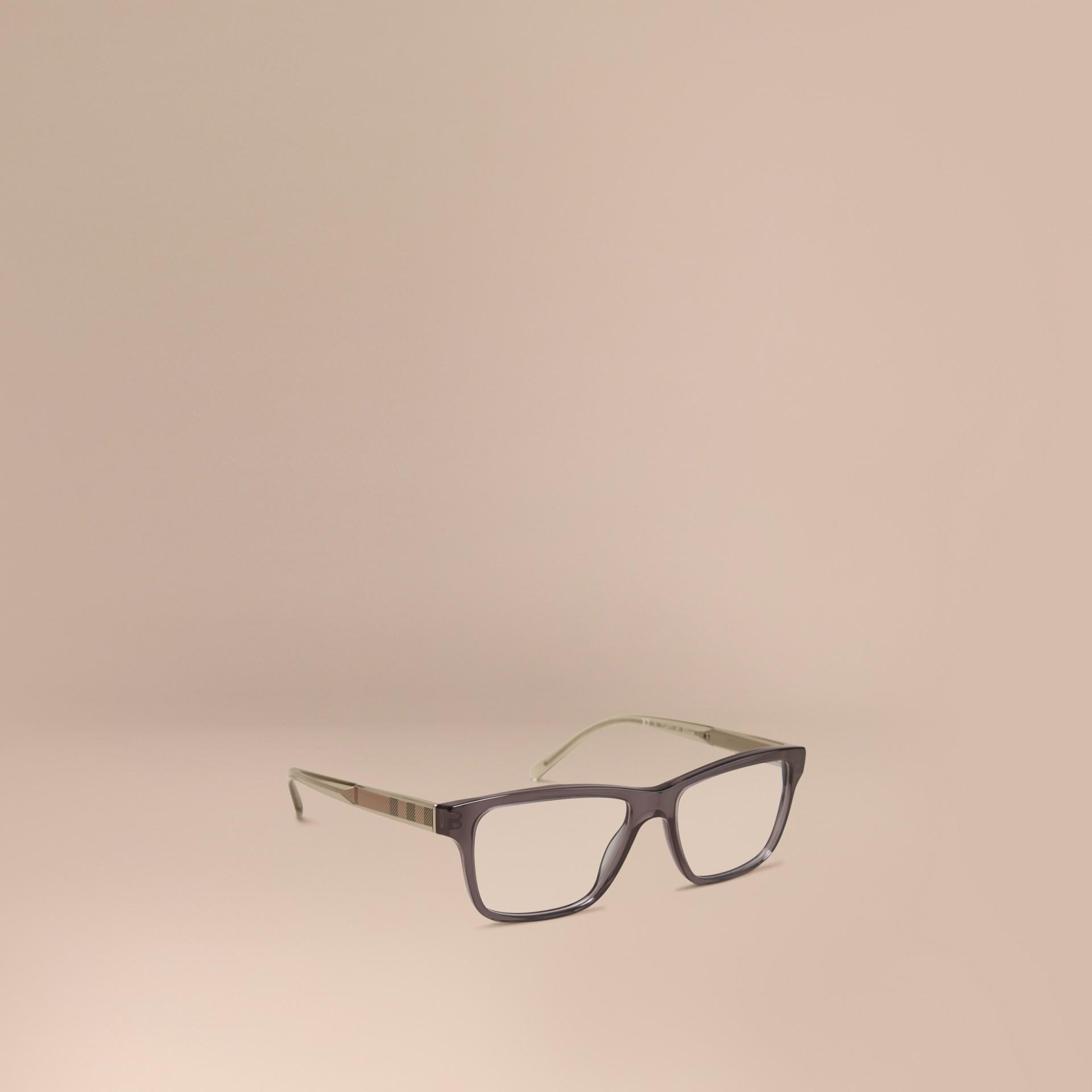 Grigio scuro Montatura da vista rettangolare con dettaglio check Grigio Scuro - immagine della galleria 1