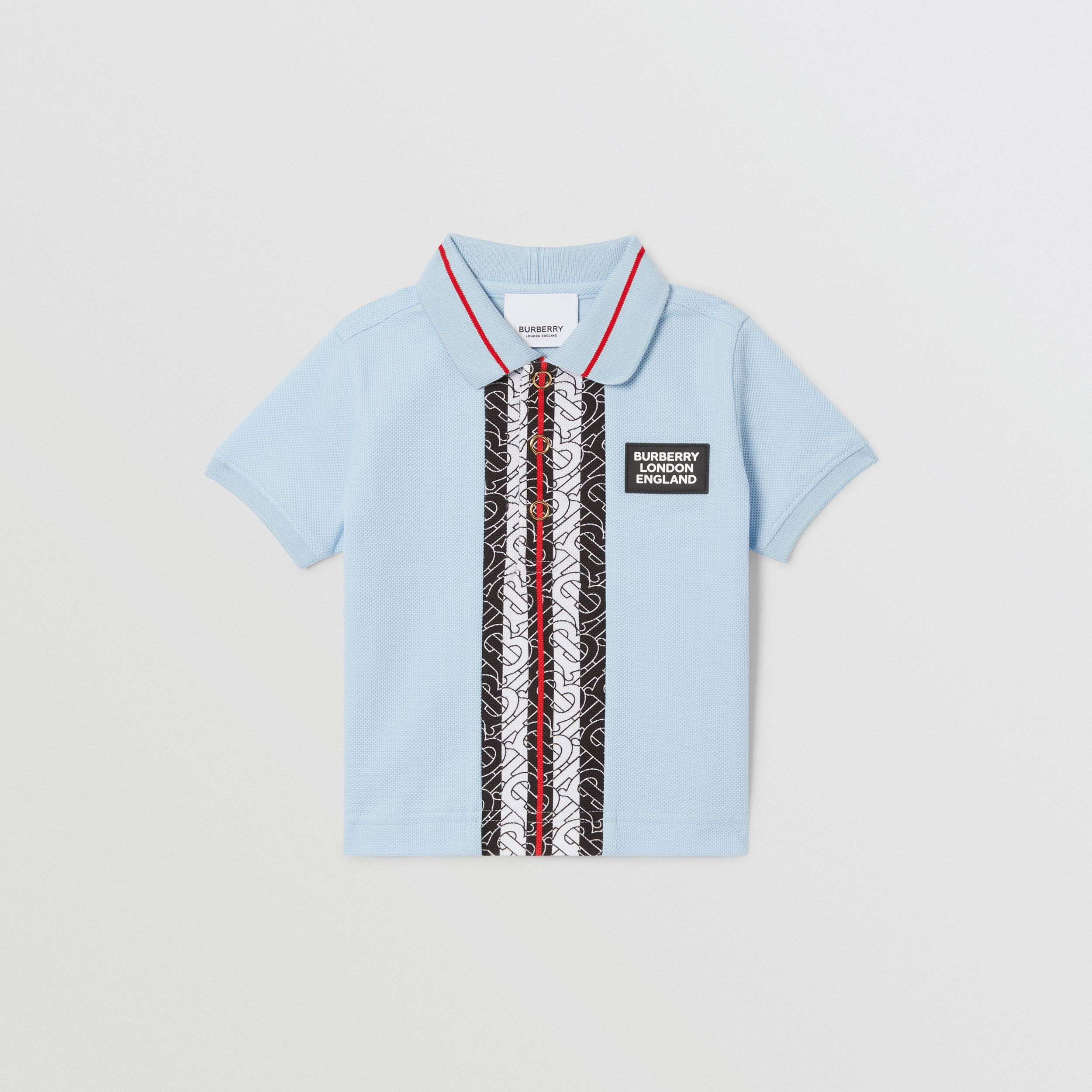 Monogram Stripe Print Cotton Piqué Polo Shirt in Pale Blue - Children | Burberry United Kingdom - 2