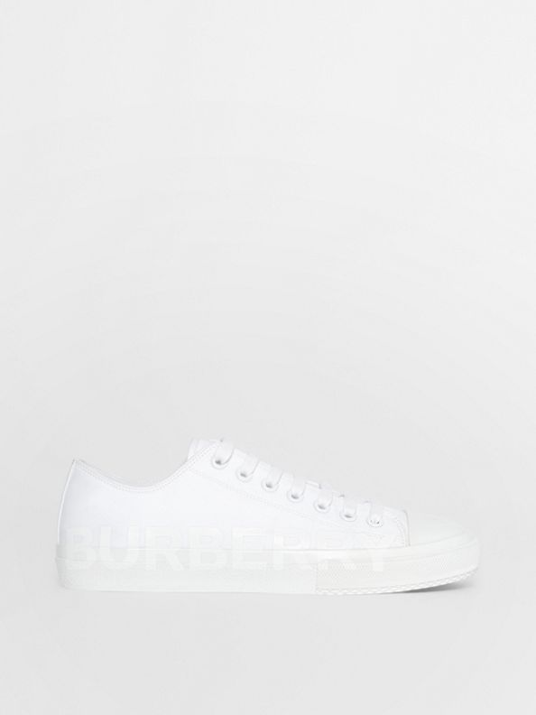 Men's Logo Print Cotton Gabardine Sneakers in Optic White