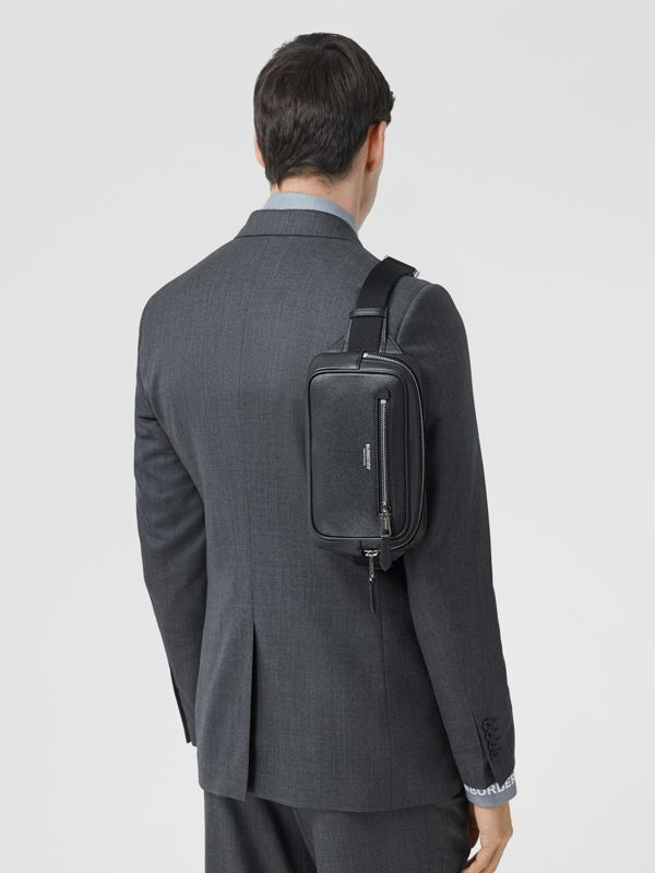 Grainy Leather Bum Bag in Black - Men | Burberry - cell image 3
