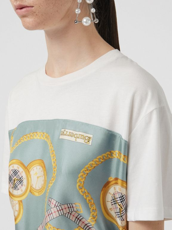 Archive Scarf Print Oversized T-shirt in White - Women | Burberry - cell image 1
