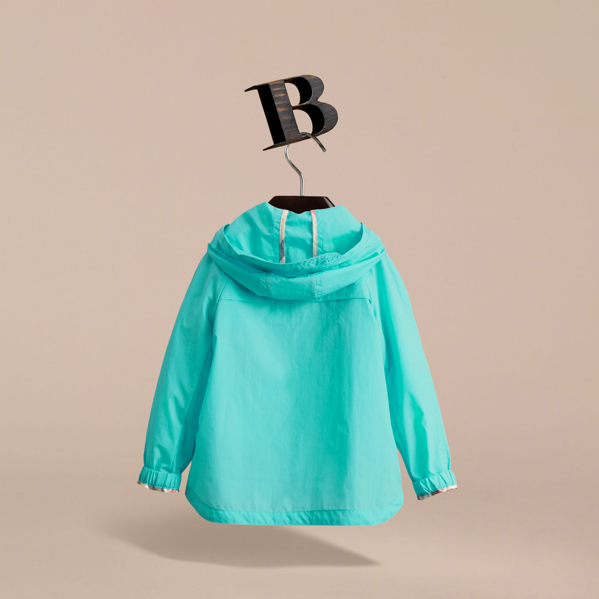Showerproof Hooded Technical Jacket in Bright Turquoise - Boy | Burberry Australia - gallery image 4