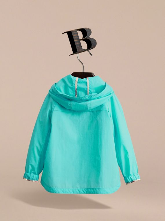 Showerproof Hooded Technical Jacket in Bright Turquoise - Boy | Burberry - cell image 3