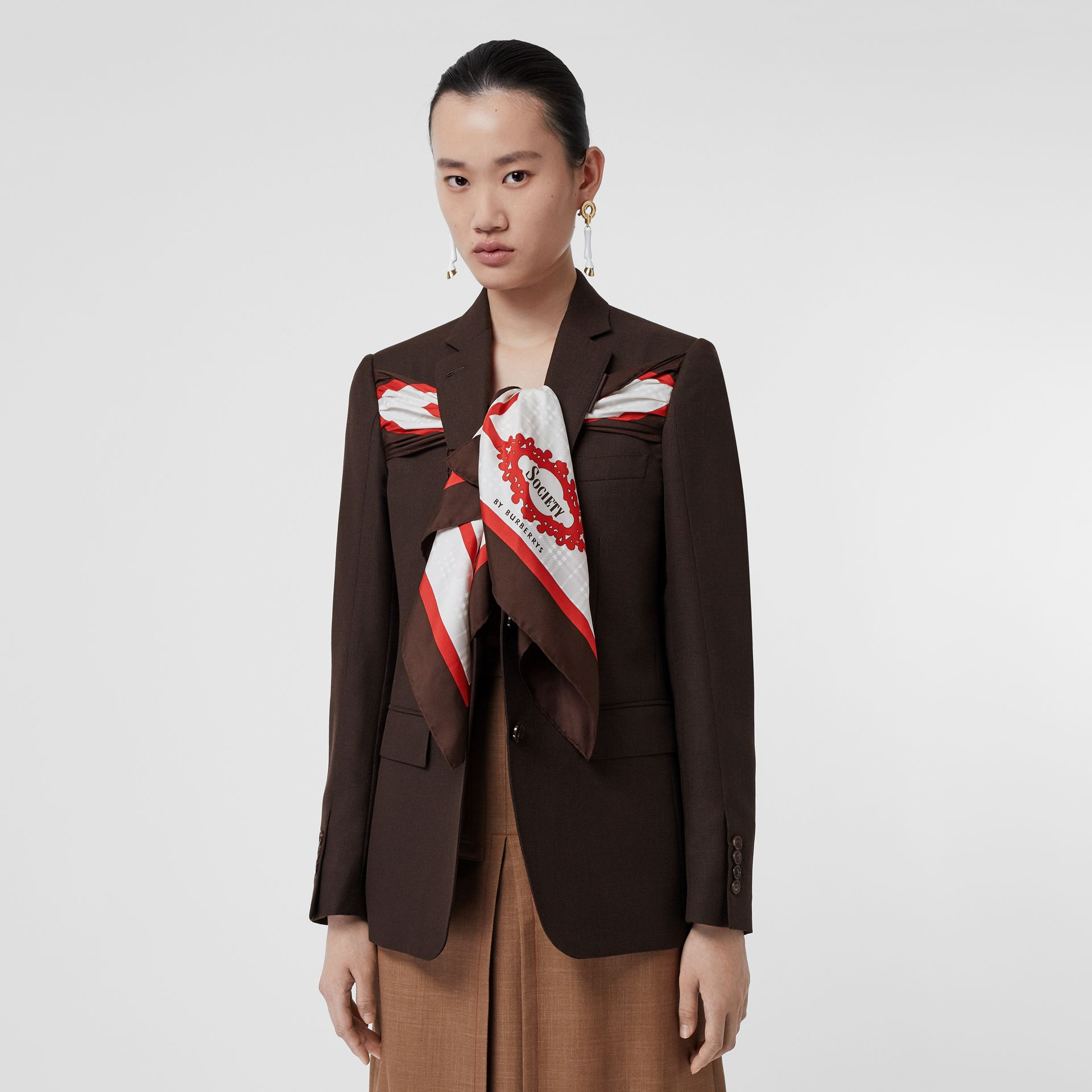 Silk Scarf Detail Wool Tailored Jacket in Coffee - Women | Burberry Singapore - gallery image 5