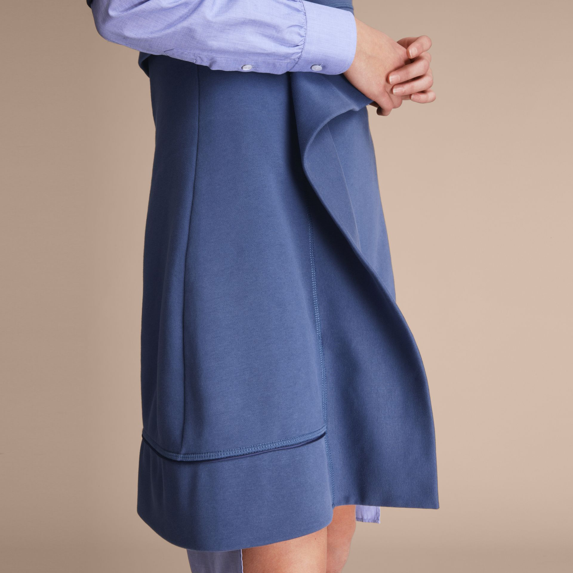One-shoulder Sweatshirt Dress in Pewter Blue - Women | Burberry - gallery image 5