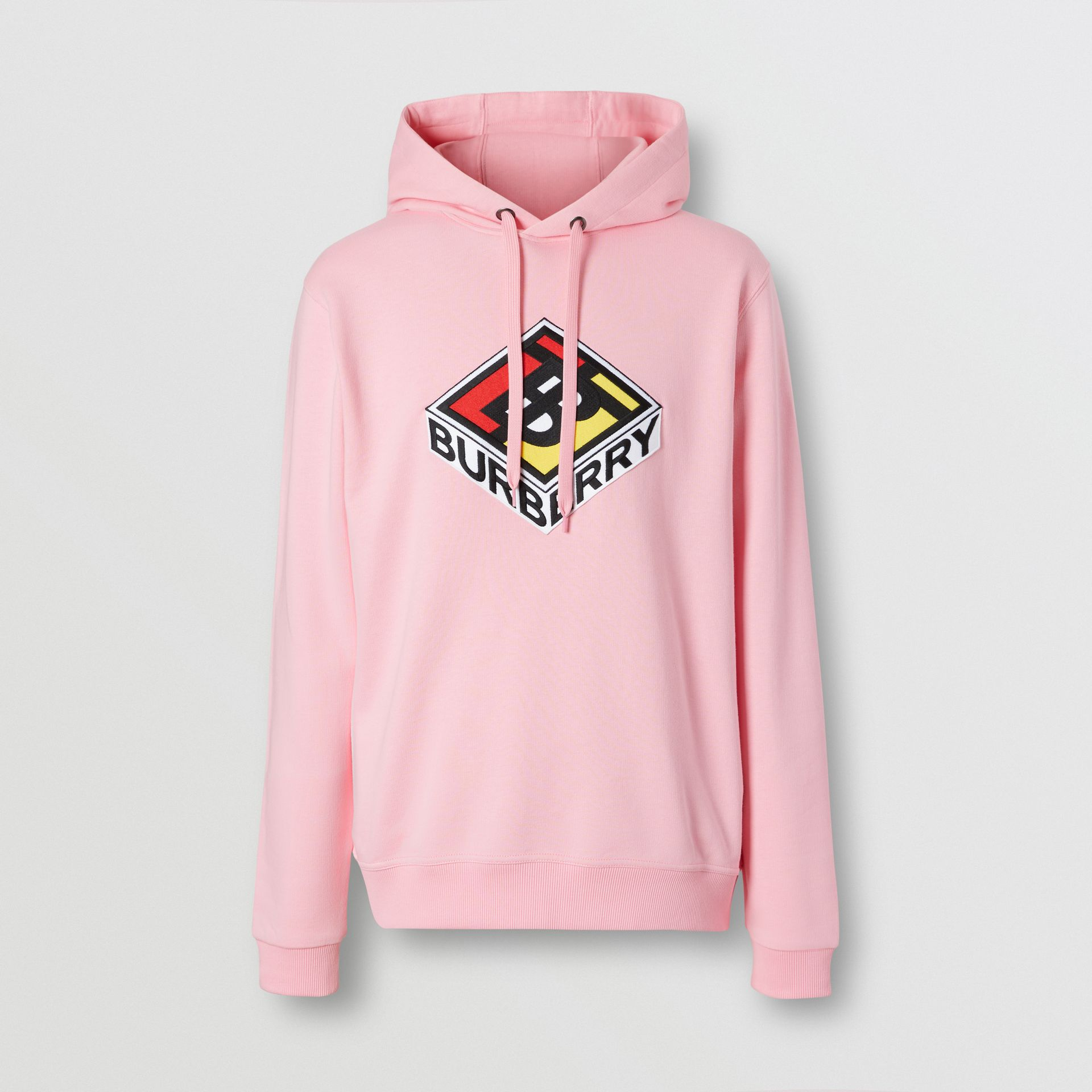Logo Graphic Cotton Hoodie in Candy Pink - Men | Burberry - gallery image 3
