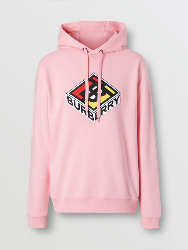 Logo Graphic Cotton Hoodie in Candy Pink - Men | Burberry - cell image 3