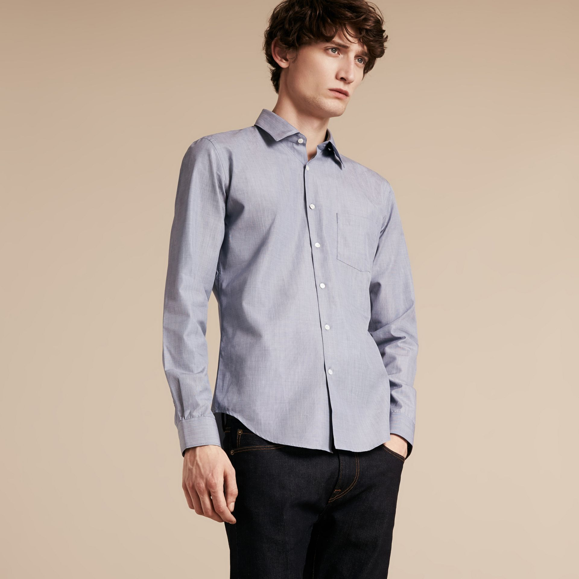 Light blue Mélange Cotton Shirt Light Blue - gallery image 6
