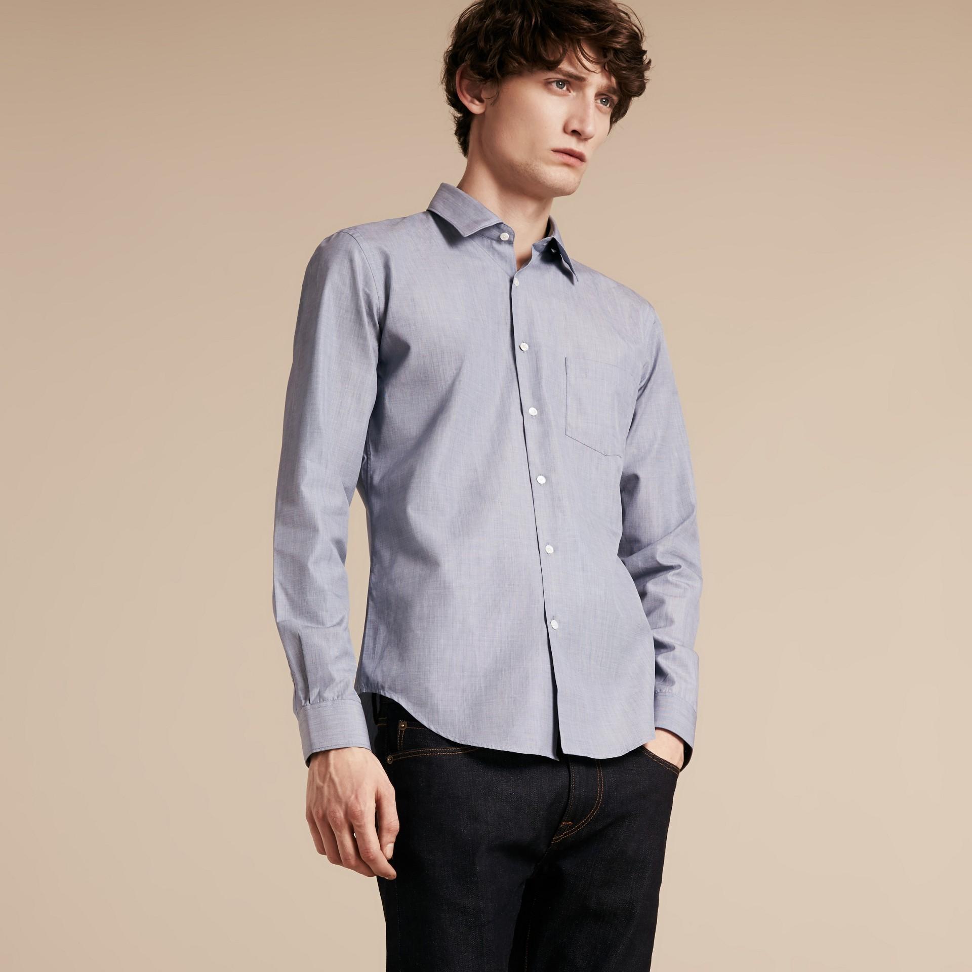 Light blue Camisa de mescla de algodão Light Blue - galeria de imagens 6