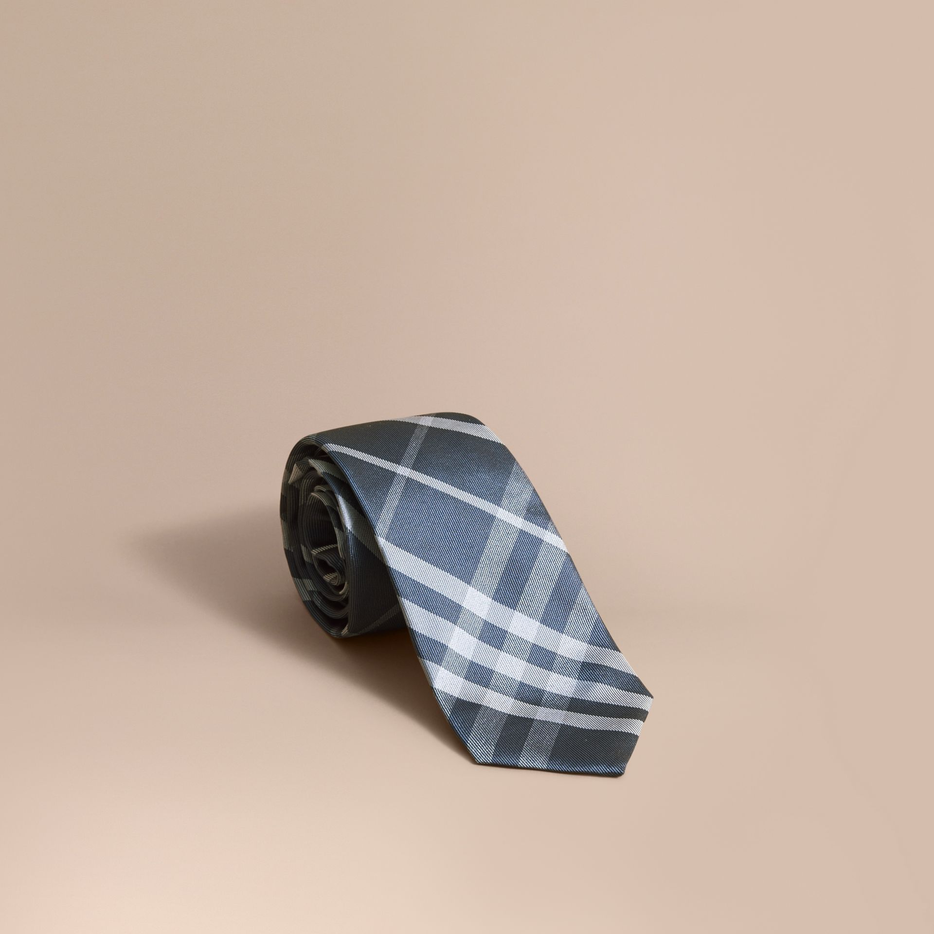 Modern Cut Check Jacquard Silk Tie Hydrangea Blue - gallery image 1