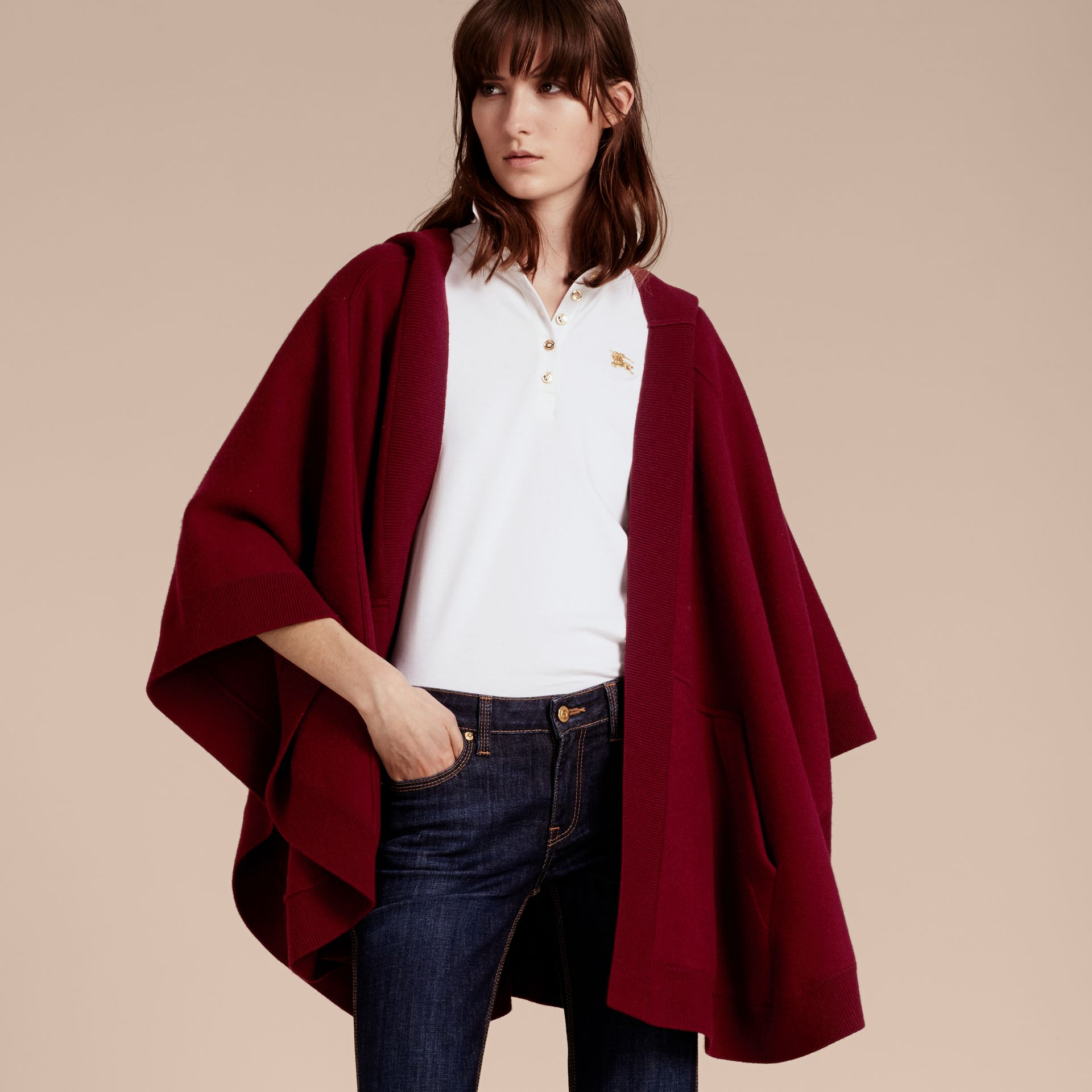Wool Cashmere Blend Hooded Poncho in Deep Red - Women | Burberry - gallery image 7