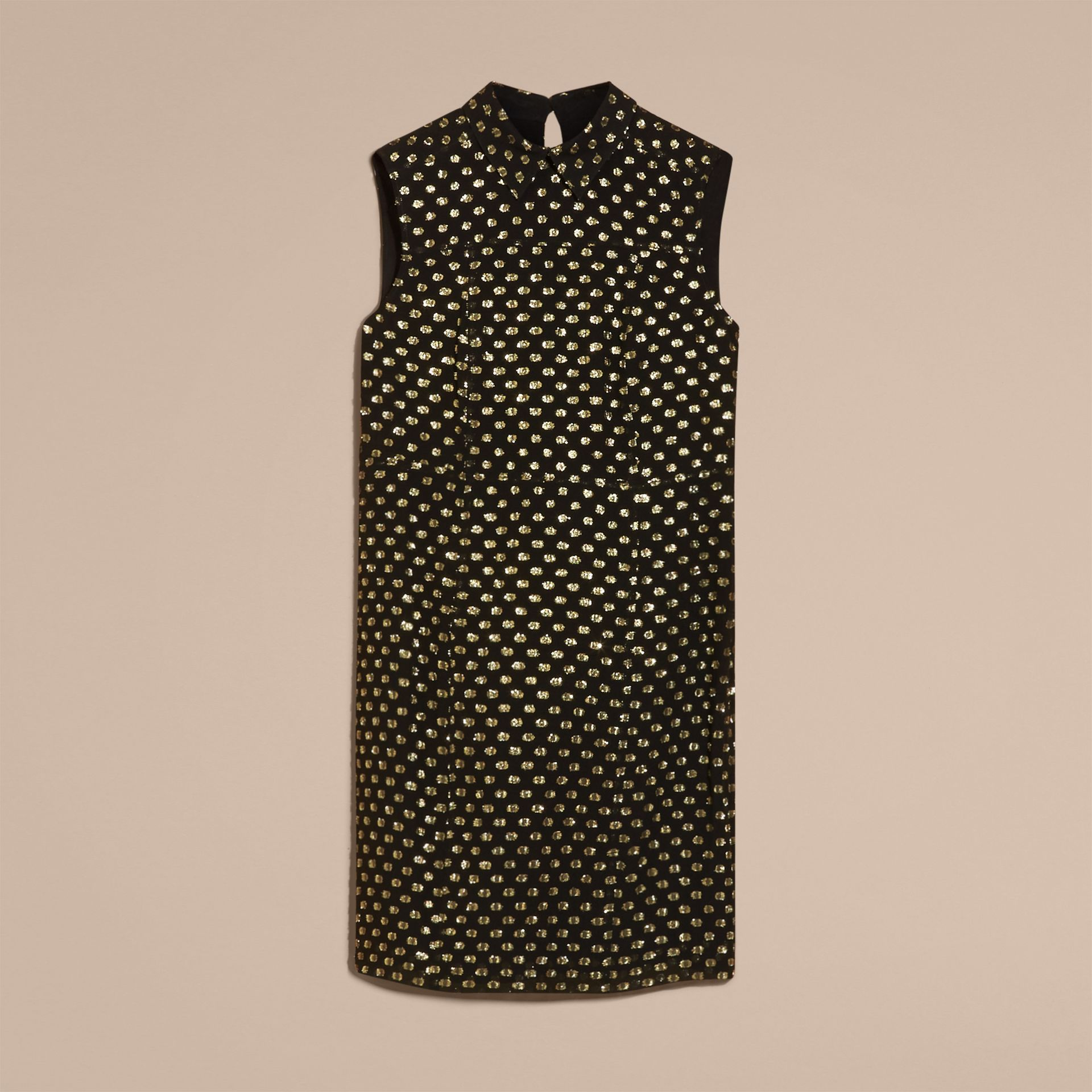 Gold/black Metallic Polka Dot Sleeveless Silk Shift Dress - gallery image 4